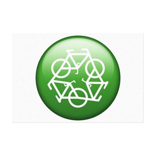 Recicle el logotipo con las bicicletas impresión en lienzo estirada