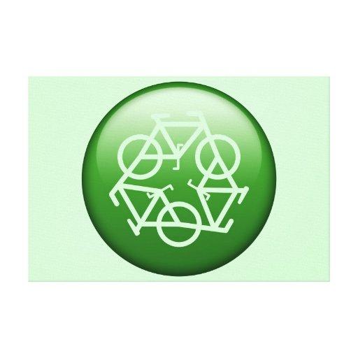 Recicle el logotipo con las bicicletas impresiones en lona estiradas