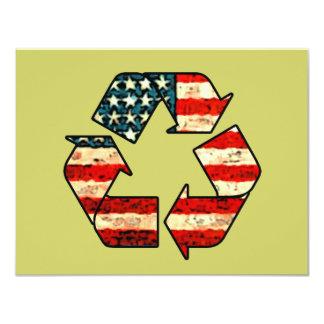 Recicle las invitaciones de América Invitación 10,8 X 13,9 Cm