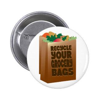 Recicle los bolsos de ultramarinos chapa redonda 5 cm