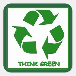 Recicle piensan al pegatina verde