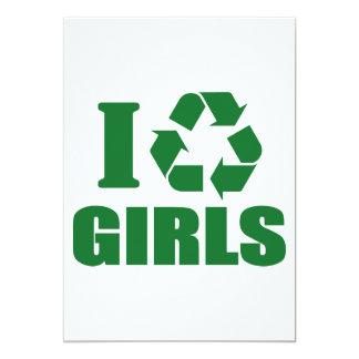 Reciclo a chicas invitación 12,7 x 17,8 cm