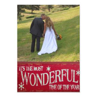 Recién casado la mayoría del navidad maravilloso invitación 12,7 x 17,8 cm