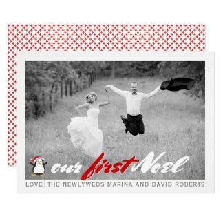 Recién casado moderno - tarjeta plana roja de la