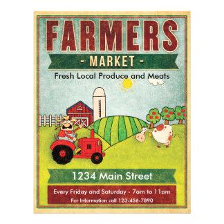 Recién hecho y carnes del mercado de los granjeros flyer