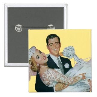 Recienes casados del boda del vintage, novia feliz chapa cuadrada