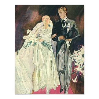Recienes casados del boda del vintage, novia feliz invitación 10,8 x 13,9 cm