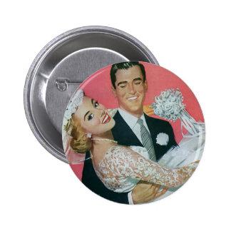 Recienes casados del boda del vintage, novia que chapa redonda de 5 cm