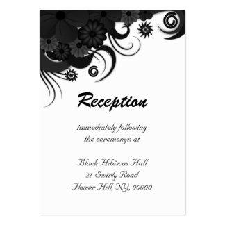 Recinto blanco y negro floral de la recepción tarjetas de visita grandes