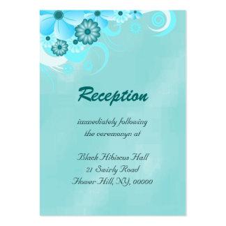Recintos florales azules de la recepción nupcial tarjetas de visita grandes
