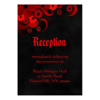 Recintos negros florales rojos de la recepción tarjetas de visita grandes