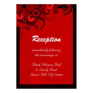 Recintos rojo oscuro florales de la recepción tarjetas de visita grandes