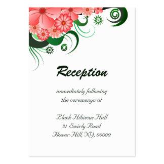 Recintos rosados florales de la recepción nupcial tarjetas de visita grandes