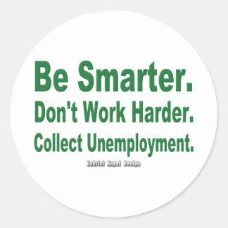 Recoja el desempleo etiquetas redondas