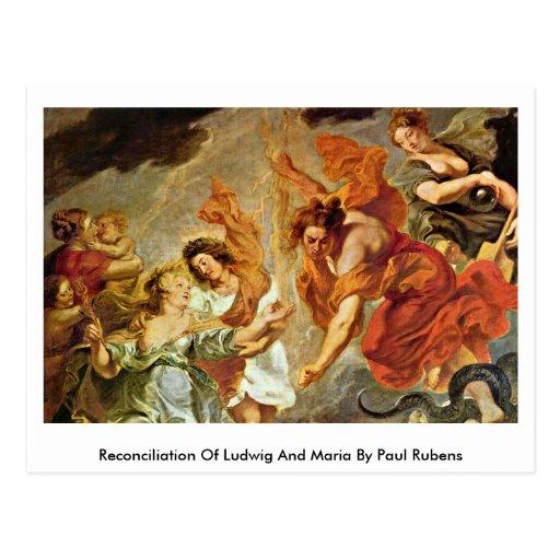 Reconciliación de Luis y de Maria de Paul Rubens Tarjeta Postal