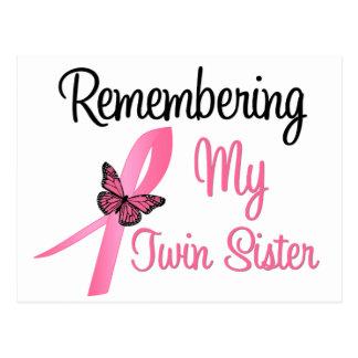 Recordando a mi hermana gemela - cáncer de pecho postal