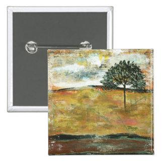 Recordaré arte abstracto del paisaje del árbol chapa cuadrada 5 cm
