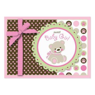 Recordatorio agradable Notecard del chica del oso Tarjetas De Visita Grandes