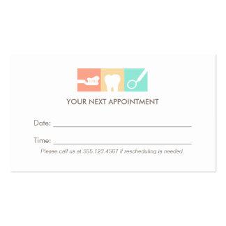 Recordatorio de la cita de la oficina del dentista tarjetas de visita
