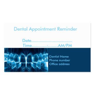 Recordatorio de la cita del dentista plantillas de tarjeta de negocio