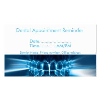 Recordatorio de la cita del dentista tarjetas de visita