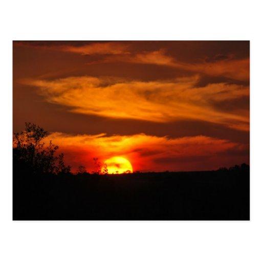 Recordatorio de la puesta del sol tarjeta postal