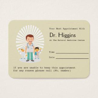 Recordatorio del médico de cabecera cita tarjeta de negocios