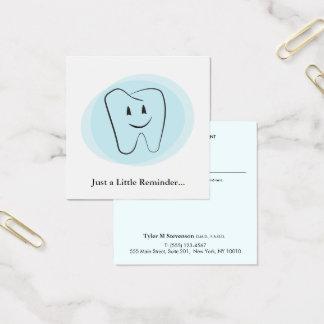 Recordatorio dental de la cita del dentista tarjeta de visita cuadrada