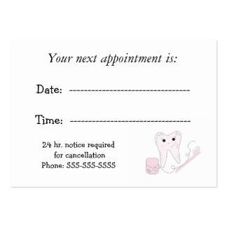 Recordatorio dental de la cita tarjetas de visita