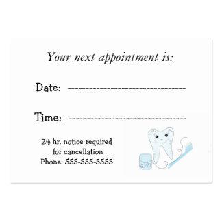 Recordatorio dental de la cita tarjetas de negocios