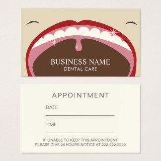 Recordatorio dental profesional de la cita tarjeta de visita