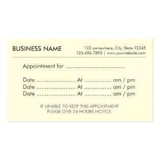 Recordatorio llano simple de la cita tarjetas de visita