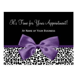 Recordatorio púrpura de la cita del salón de la ci tarjeta postal