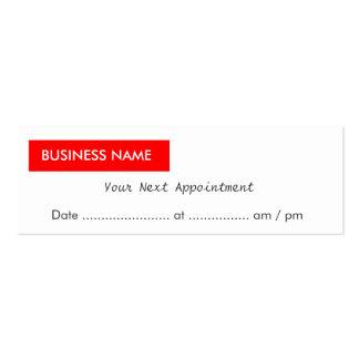 Recordatorio rojo simple de la cita de la etiqueta tarjeta de visita
