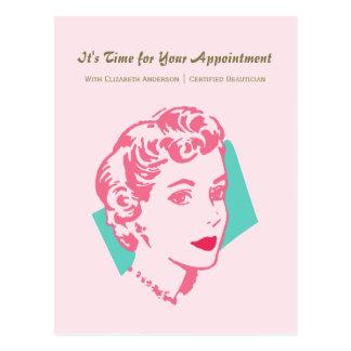 Recordatorio rosado de la cita de la belleza de la tarjeta postal
