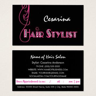 Recordatorio rosado femenino de la cita del tarjeta de negocios