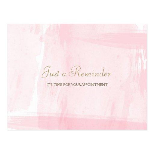 Recordatorio rosado simple de la cita de la acuare tarjetas postales