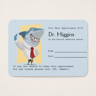 Recordatorio sonriente dentudo de la cita del tarjeta de negocios