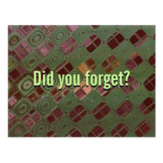 ¿Recordatorio - usted olvidó? Postal