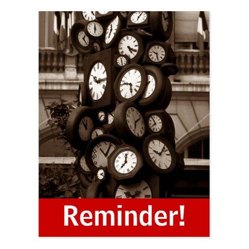 Recordatorio visual de la cita del tiempo de reloj tarjetas postales