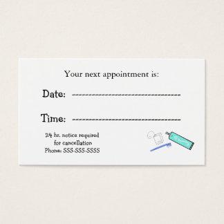Recordatorios de la cita de los dentistas tarjeta de visita