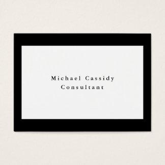 Rectángulo blanco negro elegante llano simple tarjeta de negocios