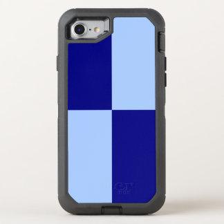 Rectángulos a cuadros azules claros y funda OtterBox defender para iPhone 8/7