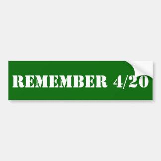Recuerde 4/20 pegatina para coche