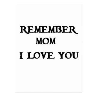recuerde a la mamá te quiero postal