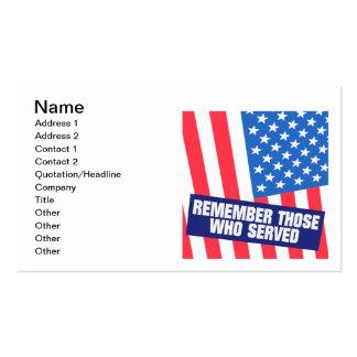 Recuerde a los que sirvan tarjetas de visita