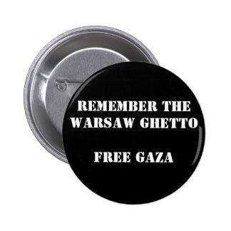 Recuerde el ghetto Gaza libre de Varsovia Chapa Redonda De 5 Cm