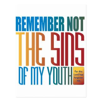 Recuerde no los pecados de mi juventud tarjeta postal