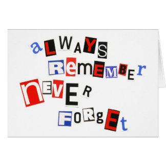 Recuerde siempre, nunca olvide tarjetas