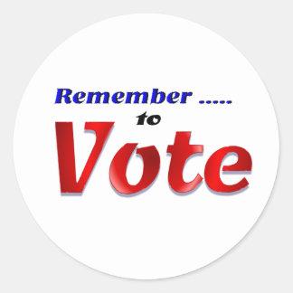 Recuerde votar pegatina redonda